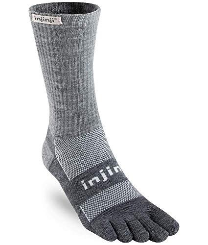 Injinji 2.0 Outdoor Midweight Crew Nuwwol Socks, Charcoal/Black, X-Large