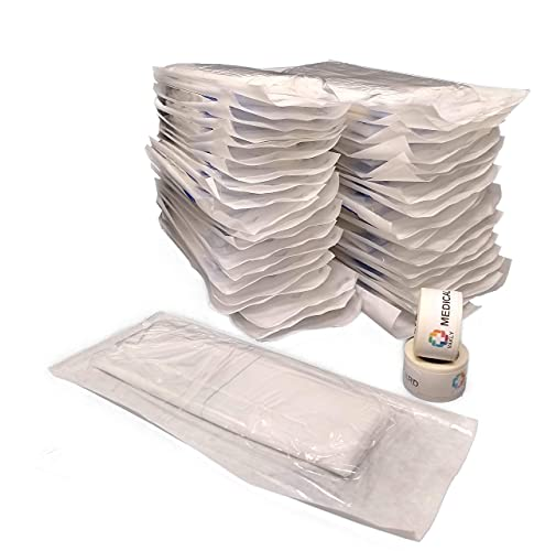 Combine Abdominal Pads [Pack of 40] ABD Pads 8''x10'' - High Absorbency Sterile Individually Wrapped - [2 Packs of 20] for Heavy-Draining, Trauma and First Aid Wound Care Plus 2 Rolls of Medical Tape