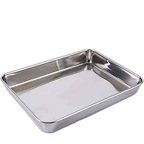 AYUBOOM Baking Sheet,Hotel Sheet Pan,304 Heavy Duty Stainless Steel Cookie Sheet Pans,Deep Nonstick Superior Mirror Finish Barbeque Grill Pan,Dishwasher Safe (16.2x12.6x2.4 inches)