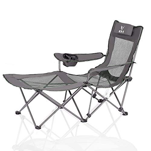Camping Recliner Chair with Footrest Portable Mesh Folding Adjustable Chair with Removable Headrest Cup Holder for Backpacking Travel Heavy Duty 300 lbs Grey