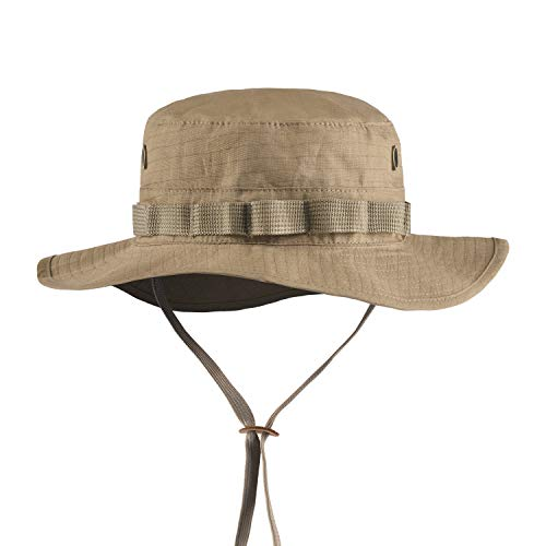 Boonie Hat Tactical Ripstop Headwear Bucket Hat with Map Pocket Chin Strap for Wargame Sports Hunting Fishing UV Protection Cap with Oversized Brim for Outdoor Military Hat with Brass Vents (TAN)