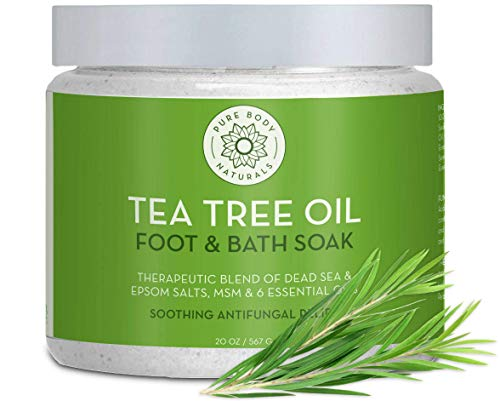 Tea Tree Oil Foot & Bath Soak, 100% Natural with Epsom and Dead Sea Salts, Athletes Foot, and Toenail Treatment, Tired Feet Relief, 20 ounces - by Pure Body Naturals