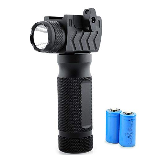 Aecktech Tactical Q5 LED Flashlight Ultra Bright 600 Lumens Flash Light 2 Modes Water Resistant Handheld Vertical Light for Picatinny & Weaver Rails Black(CR123Ax2 Lithium Batteries Included)