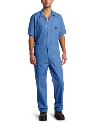 Dickies Men's Short Sleeve Coverall, Medium Blue, Medium Regular