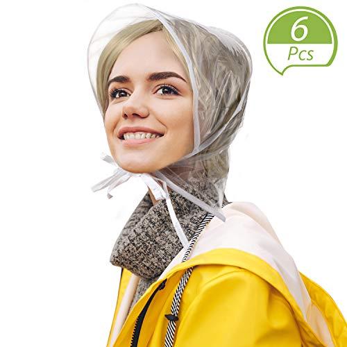 6 Piece Rain Bonnet with Visor Waterproof Clear Bonnet for Women Lady Rain Wear White