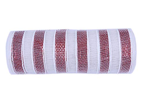 10 inch x 30 feet(10 Yards)-YYCRAFT Metallic Deco Poly Mesh Ribbon for Christmas Decoration/Wreath Making Craft(White/Red)