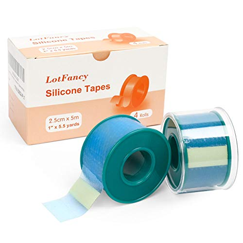 4Rolls LotFancy Medical Soft Silicone Tape 1inch x 5.5Yards, Adhesive Water-Proof Surgical Tape, Pain-Free Removal, Surgery First Aid Tape for Wound, Bandage, Sensitive Skin, Latex Free