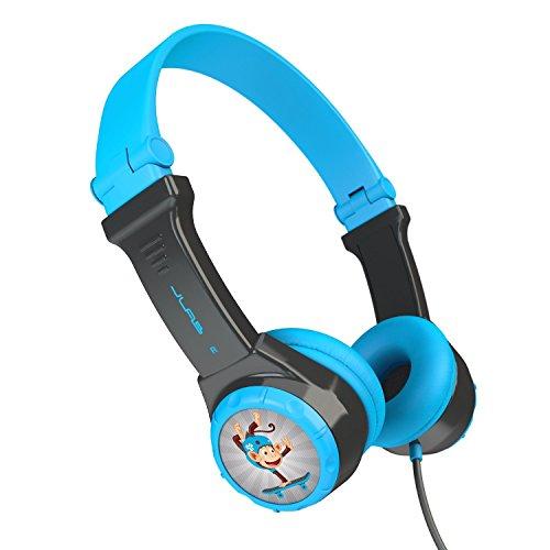 JLAB JBuddies Folding Kids Wired Headphones   Toddler Headphones   Noise Isolation   Kids Safe   Volume Limiting Headphones   Headphones for Children   Gray/Blue