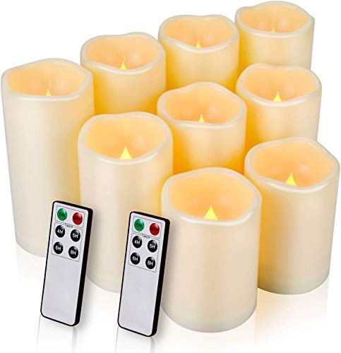 Flameless Candles, LED Candles Outdoor Candles Waterproof Candles(D: 3' x H: 4'5'6') Battery Operated Candles Plastic Pack of 9 Flameless Pillar Candles