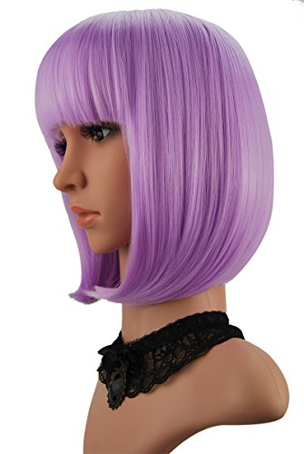 eNilecor Short Bob Hair Wigs 12' Straight with Flat Bangs Synthetic Colorful Cosplay Daily Party Wig for Women Natural As Real Hair+ Free Wig Cap (Lavender Purple)