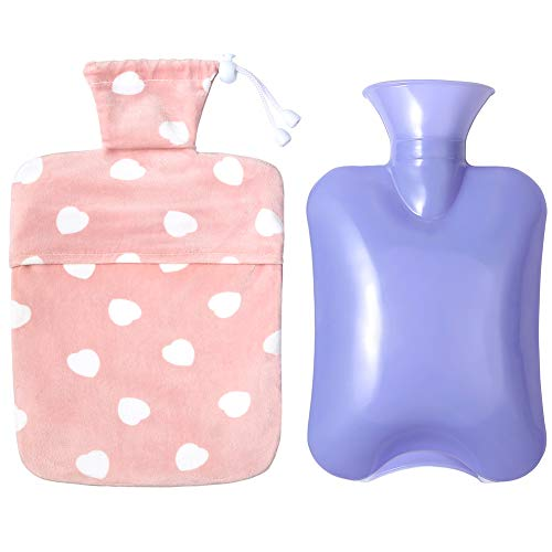 Rubber Hot Water Bottle with Knit Cover Bag for Pain Relief,2 Sizes Bags to Chose (Pink Small Size(33.8Fl Oz, 9.64'x6'))
