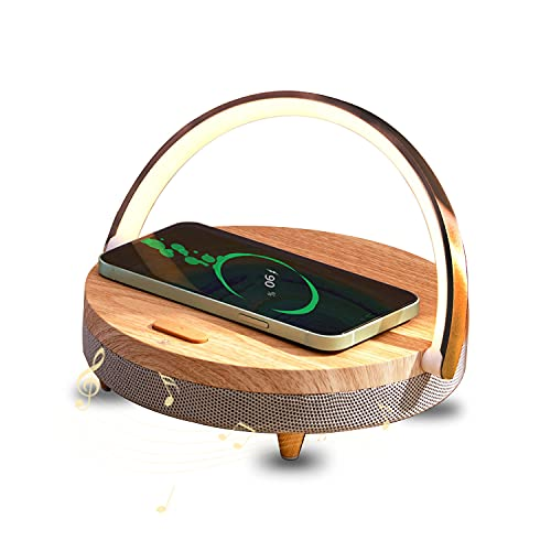Bedside Lamp with Wireless Charger,ZEANEW Multi Function Desk Speaker Stand for Cellphone,Wireless Charging LED Night Light, Speaker Power Charging,Touch Control Dimmable Reading Light for Bedroom