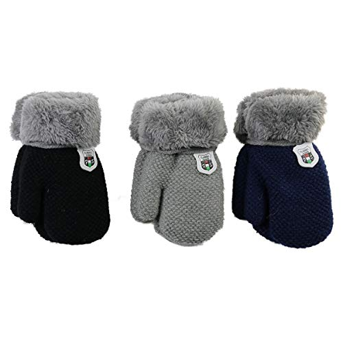 DDBO Winter Gloves Mitten Toddler Baby Girls Boys Warm Cute Knit Cold Weather Snow Thicken Plush Lined with String