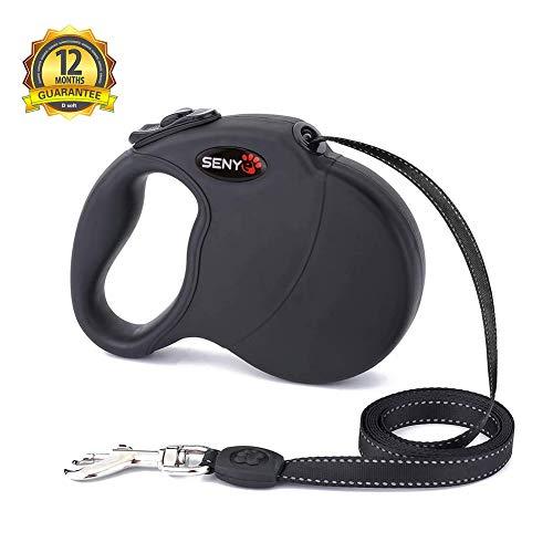 SENYEPETS Heavy Duty Retractable Dog Leash by Senye - Great for Small,Medium&Large Dogs up o 110lbs-Strong Nylon Ribbon Extends 16ft; 360° Tangle-Free;Durable Big Pet Leash (Black)