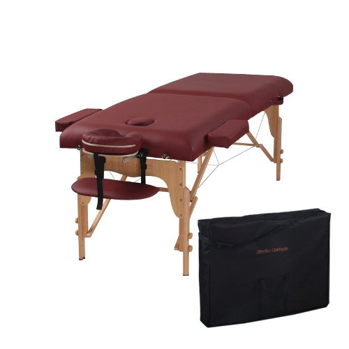 Heaven Massage Two Fold Burgundy Portable Massage Table - PU Leather High Quality