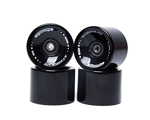 FREEDARE 70mm Longboard Wheels with ABEC-7 Bearings and Spacers(Black,Set of 4)