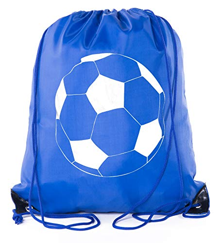 Goodie Bags for Kids | Drawstring Gift Bags with Logo for Bdays, Parties + More - 3PK Royal CA2500PTY Soccer