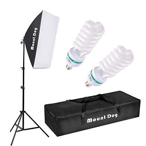 MOUNTDOG Photography Continuous Softbox Lighting Kit 20'X28' Professional Photo Studio Equipment with 2pcs 95W E27 Socket 5500K Video Lighting Bulb for Filming Portraits Shoot