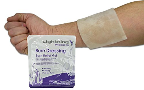 Lightning X Cooling Burn Relief Gel 4' x 4' Burn Dressing Sterile Trauma Hydrogel