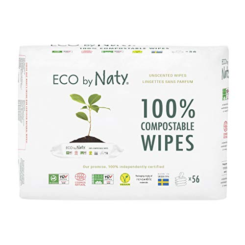 Eco by Naty Unscented Baby Wipes, 168 count (3 packs of 56), Plant based Compostable Wipes, 0% plastic. No nasty chemicals