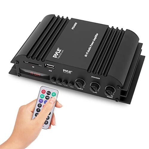 Class-T HiFi Power Audio Amplifier - 100W Dual Channel Surround Sound Stereo Receiver Box w/ USB, RCA, 12V Adapter - For Subwoofer Speaker, iPhone, Home Theater, PA System - Pyle PFA400U
