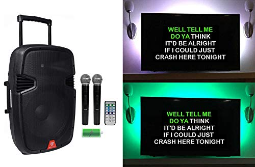 Rockville 15' Portable Karaoke Machine/System w/ (2) Wireless Microphones+LED's