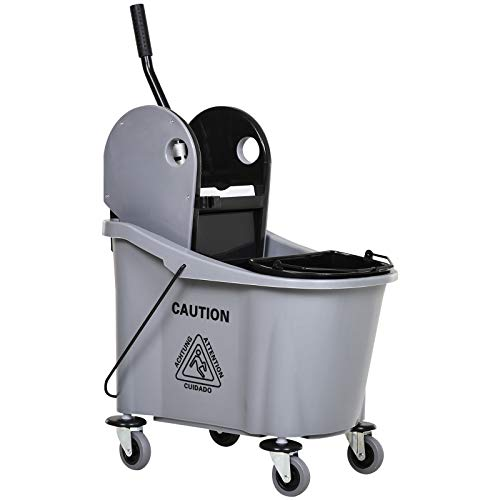 HOMCOM 9.5 Gallon (38 Quart) Mop Bucket with Wringer Cleaning Cart, 4 Moving Wheels, 2 Separate Buckets, Mop-Handle Holder, Grey
