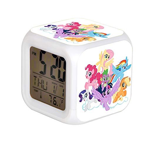ALPERT Child 7 Color Change LED Digital Alarm Clock with Date Alarm Thermometer Desktop Table Cube Alarm Clock Night Glowing Flash Watch Toys My Little Pony Mane Six on Clouds