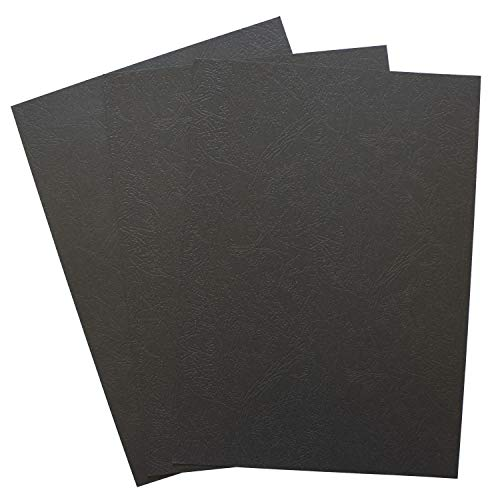 Binditek 100 Pack Paper Leather Texture Binding Presentation Covers for Business Documents, School Projects, 12 Mil,Un-Punched 8-1/2 x 11 Inches,Black