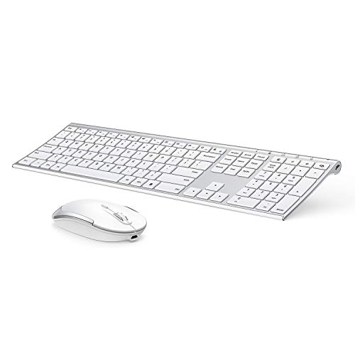 Wireless Keyboard and Mouse, Vssoplor 2.4GHz Rechargeable Compact Quiet Full-Size Keyboard and Mouse Combo with Nano USB Receiver for Windows, Laptop, PC, Notebook-White and Silver