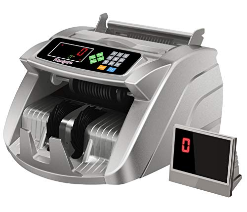 Money Counter Machine with UV/MG/IR Detection, Kaegue Bill Counting Machine with Counterfeit Cash Detection - Batch/Add/Modes, 1,000 Notes Per Minute (Silver)