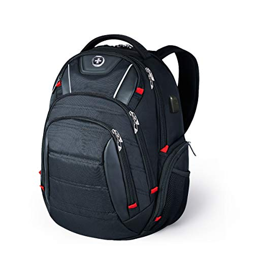 Swissdigital Design Circuit College Business Travel Backpack TSA Friendly Built in USB Charging RFID Protection Fits Laptops up to 15.6' Black (J14-BR)