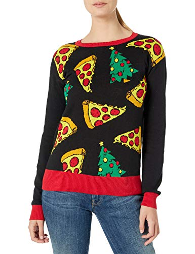 Cold Crush Women's Ugly Christmas Sweater, Pizza/Black, Large