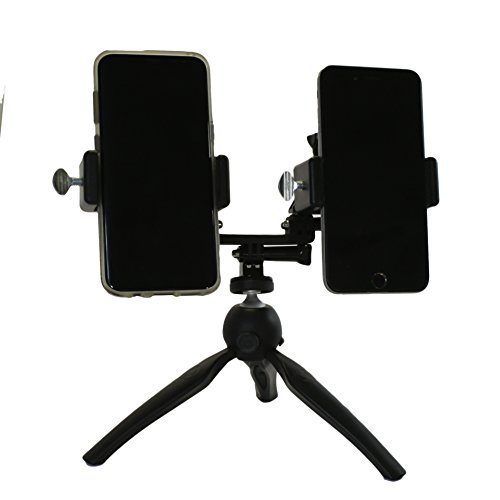 Livestream Gear - Dual Phablet Tripod Setup for Live Stream or YouTube, to Fit Large Sized Devices Like iPhone 6 Plus, or Galaxy Note. Also Works with Sport Cameras. (Black Dual Tripod)