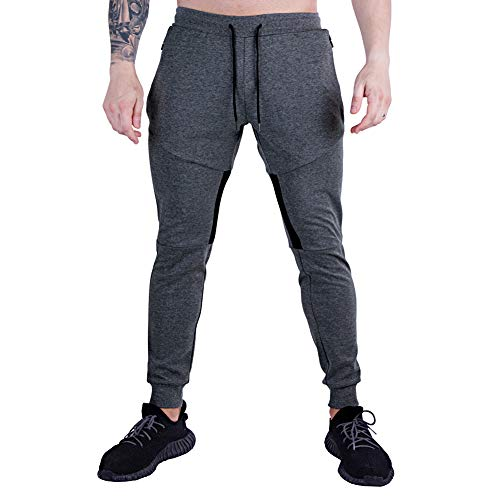 GANSANRO Mens Joggers Sweatpants Men's Slim Fit Athletic Running Pants, Dark Grey Sweatpants for Men with Zipper Pockets, Large