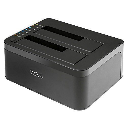 WEme USB 3.0 to SATA Dual-Bay External Hard Drive Docking Station with Offline Clone/Duplicator Function for 2.5 & 3.5 Inch HDD SSD SATA (SATA I/II/III) Support 2X 8TB & UASP, Tool-Free