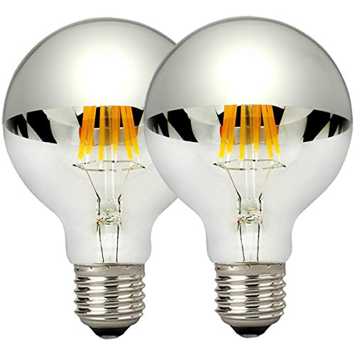 LUXON Half Chrome Light Dimmable LED Filament Vintage Bulb with Mirror 6W (60W Equivalent) G80/G25 E26 Medium Base Warm White 2700K, 2 Pack