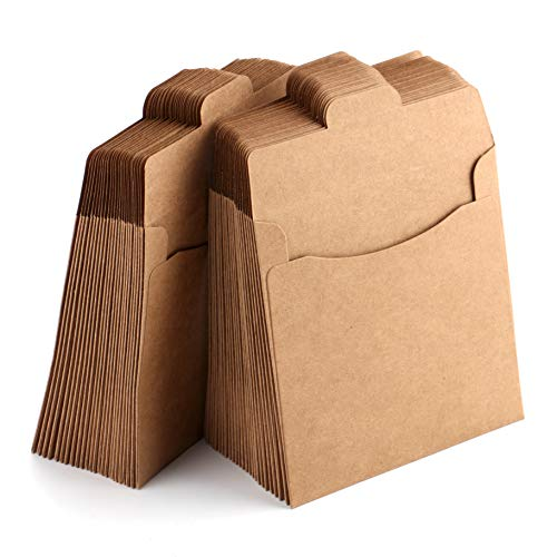 Fasmov 5' x 5' CD Sleeves Kraft Paper DVD Envelopes, 150 Pack