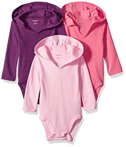 Hanes Ultimate Baby Flexy 3 Pack Hoodie Bodysuits, Purple/Pink, 6-12 Months