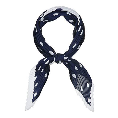Allegra K 50s Pleated Neck Scarf for Women Rhombus Handkerchief Polka Dots Bandana Hair Wraps Headbands Black 1 Pcs