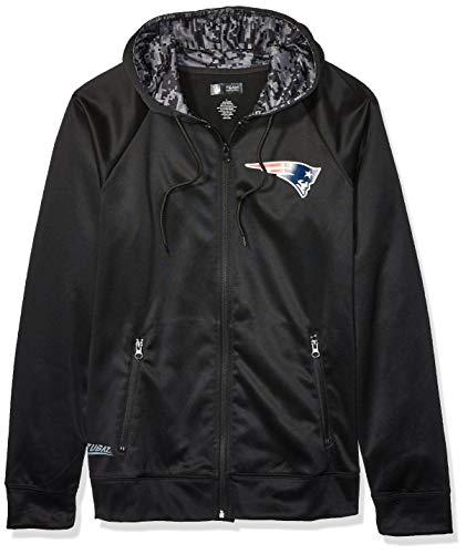 NFL New England Patriots Men's Full Zip Hoodie, Black, XX-Large