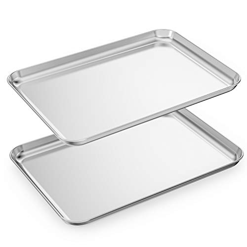 Baking Sheets Set of 2, HKJ Chef Cookie Sheets 2 Pieces Stainless Steel Baking Pans & Toaster Oven Tray Pans, Rectangle Size 24L x 16W x 1H inch & Non Toxic & Healthy & Easy Clean