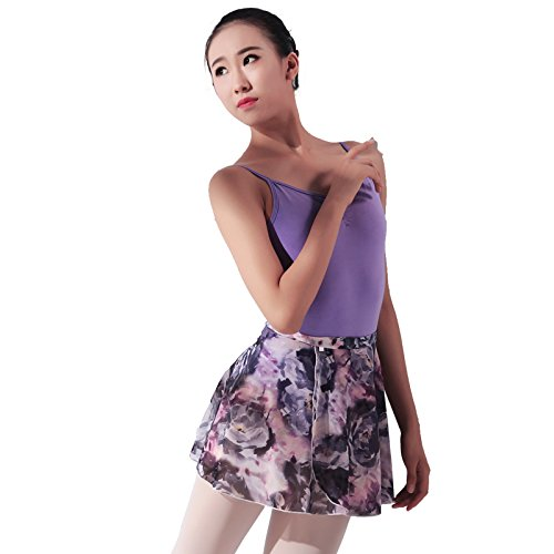 Baiw Dance 117145402 Floral Ballet Wrap Skirt Ballet Skirt (Grey-Purple, M)