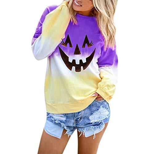 Aniywn Women Long Sleeve Sweatshirt Colorblock Hooded Tops Ladies Halloween Printed Pullover Blouse(Purple,XL)