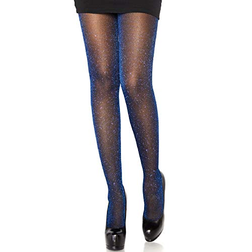Leg Avenue Womens Lurex Shimmer Tights, O/S, Black/Royal Blue,One Size