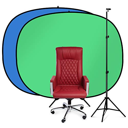 AFHT 5'x 5.5'Green Screen with Stand Collapsible 2-in-1 Blue and Green Screen Chair Kit Backdrop with Stand for Photography, Live Video, Virtual Background, Etc.