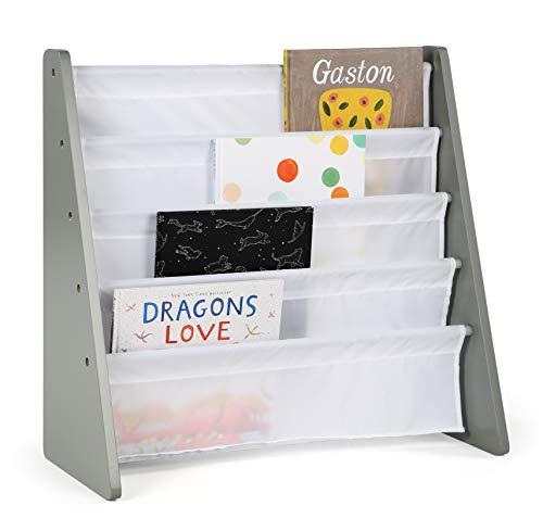 Humble Crew Kids Book Rack Storage Bookshelf, Grey/White