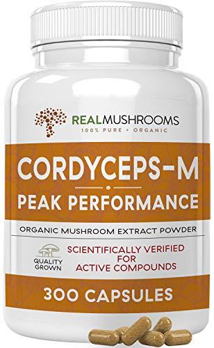 Cordyceps-M Peak Performance Supplement for Energy, Stamina & Endurance, 300 Caps Vegan Cordyceps-M Supplement for Immune Support, Non-GMO & Vegan, Verified Levels of Beta-Glucans, 150Day Supply