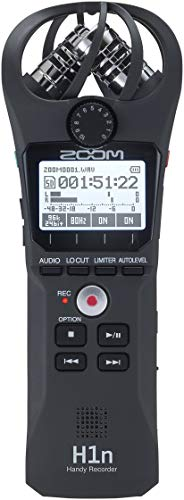 Zoom H1n Portable Recorder, Onboard Stereo Microphones, Camera Mountable, Records to SD Card, Compact, USB Microphone, Overdubbing, Dictation, For Recording Music, Audio for Video, and Interviews