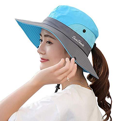 Ponytail Women's Summer Sun Bucket Hats UV Protection Safari Hiking Wide Brim Beach Foldable Mesh Fishing Cap (Sky Blue)